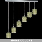 "Hollywood Design 6-Light 40"" Linear Square Adjustable Pendants  30% Lead or Swarovski Spectra Crystal SKU# 11491"