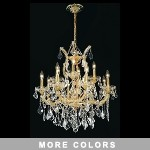 "Maria Theresa 13-Light 27"" Chrome, Gold, Golden Teak, Black, or White Crystal Chandelier with 30% Lead or European Crystals SKU# 36713"