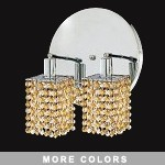 "Hollywood Design 2-Light 9"" Square Vanity Fixture  30% Lead or Swarovski Spectra Crystal SKU# 11337"