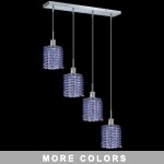 "Hollywood Design 4-Light 26"" Linear Square Adjustable Pendants with 30% Lead or Swarovski Spectra Crystal SKU# 11472"