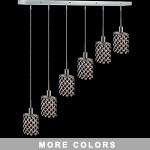 "Hollywood Design 6-Light 40"" Linear Oval Adjustable Pendants  30% Lead or Swarovski Spectra Crystal SKU# 11489"