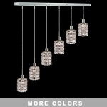 "Hollywood Design 6-Light 40"" Linear Round Adjustable Pendants  30% Lead or Swarovski Spectra Crystal SKU# 11490"