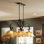 "Vetraio Collection 3-Light 47"" Oil Rubbed Island Light with Toffee Art Glass 21009"