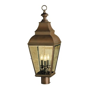 "Bristol Collection 3-Light 29"" Charcoal Post Lantern with Clear Bevel Glass 5217-C"