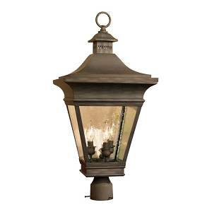 "Reynolds Collection 3-Light 26"" Charcoal Post Lantern with Seeded Glass 5239-C"
