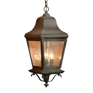 "Belmont Collection 3-Light 22"" Charcoal Hanging Lantern with Seeded Glass 5314-C"