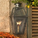 "Grand Isle Collection 16"" Washed Pewter Gas Wall Lantern with Tempered Clear Glass 7940-WP"