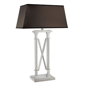 "Storyline Collection 1-Light 33"" Chrome Table Lamp with Faux Leather Shade N12361-77"