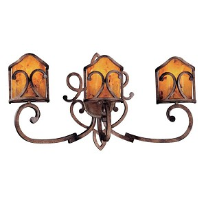 "Gran Canaria Collection 3-Light 31"" Cartouche Bronze Bath Vanity Fixture with Cracked Pen Shell Shades N2053-265"