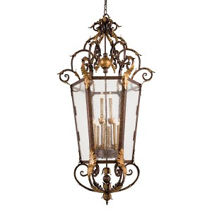 "Zaragoza Collection 12-Light 63"" Golden Bronze Pendant with Seeded Glass N3642-355"