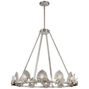 "Escalona Collection 12-Light 37"" Brushed Nickel Chandelier with Clear and Frost Glass Shades N6191-84"
