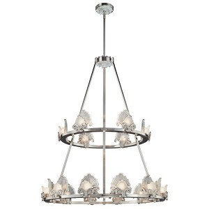 "Escalona Collection 18-Light 43"" Brushed Nickel Chandelier with Clear and Frost Glass Shades N6192-84"