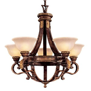 "Catalonia II Collection 5-Light 29"" Aged Walnut Chandelier with Antique White Alabaster Shade N6205-488"