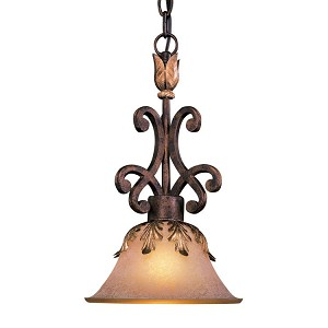 "Zaragoza Collection 1-Light 17"" Golden Bronze Mini Pendant with Salon Scavo Glass Shade N6240-355"