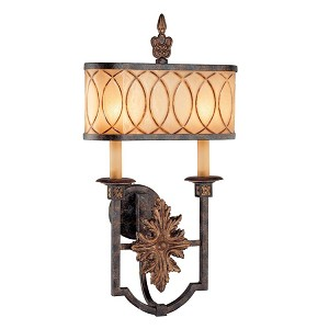 "Terraza Villa Collection 2-Light 25"" Aged Patina Wall Sconce with Spumanti Strato Glass Shade and Gold Leaf Accents N6483-270"