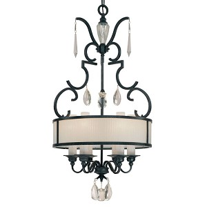 "Castellina Collection 6-Light 22"" Aged Iron Drum Pendant Chandelier N6701-254"