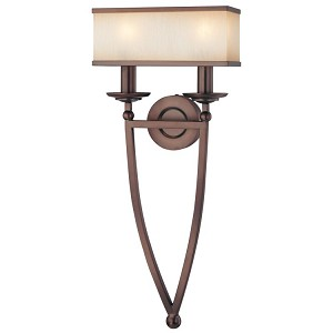 "Underscore Collection 2-Light 28"" Bronze Wall Sconce with Brushed Caramel Silk Glass N6962-267B"