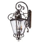 "Metropolitan Outdoor Collection 3-Light 32"" Terraza Villa Aged Patina Wall Lantern with Gold Leaf Accents and Water Glass N3247-270"