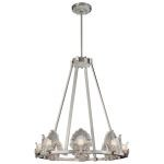"Escalona Collection 8-Light 28"" Brushed Nickel Chandelier with Clear and Frost Glass Shades N6190-84"