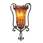 "Salamanca Collection 1-Light 23"" Cattera Bronze Wall Sconce with Pen Shell Shade N6511-468"