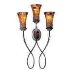 "Salamanca Collection 3-Light 34"" Cattera Bronze Wall Sconce with Pen Shell Shades N6512-468"
