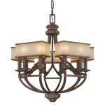 "Underscore Collection 10-Light 32"" Bronze Chandelier with Brushed Caramel Silk Glass N6958-267B"