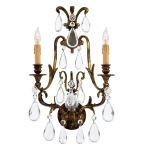 "Metropolitan Collection 2-Light 22"" Oxidized Brass Wall Sconce with Bohemian Crystals N952115"