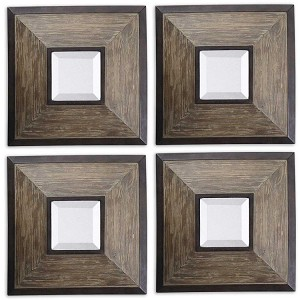 Uttermost Set of Four Fendrel Squares Decorative Wall Mirrors 13817