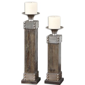 Lican Collection Natural Wood Candleholders, (Set of 2) 19668