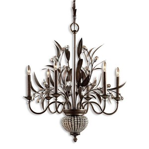 "Cristal De Lisbon 6-Light 33"" Golden Bronze Crystal Chandelier 21017"