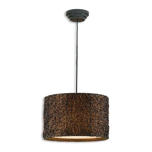 "Knotted Rattan Collection 3-Light 19"" Expresso Pendant 21103"