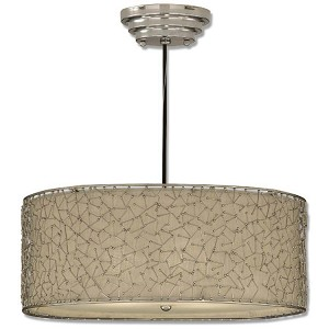 "Brandon Collection 3-Light 10"" Nickel Plated Pendant w/ Champagne Taupe Liner 21154"