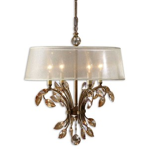 "Alenya Collection 4-Light 20"" Burnished Gold Chandelier with Sheer Drum Shade and Golden Teak Crystal Leaves 21245"