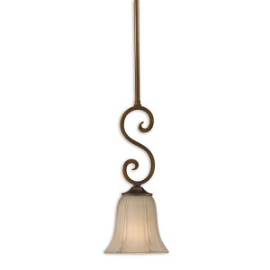 "Lyon Bronze Collection 1-Light 7"" Oil Rubbed Bronze Mini Pendant with Etched Glass Shade 21862"