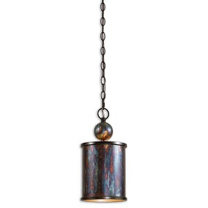 "Albiano Collection 1-Light 15"" Oxidized Bronze Cylindrical Mini Pendant 21920"