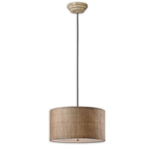 "Dafina Collection 3-Light 22"" Antiqued Burlap Weave with Natural Slubbing Pendant 21933"