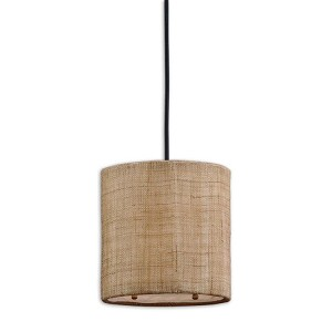 "Dafina Collection 1-Light 8"" Antiqued Burlap Weave with Natural Slubbing Mini Pendant 21934"