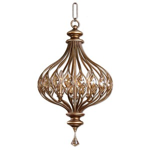 "Sabina Collection 3-Light 27"" Burnished Gold Caged Pendant with Golden Teak Crystals 21966"