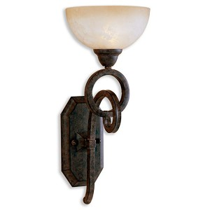 "Legato Collection 1-Light 19"" Distressed Chestnut Wall Sconce with Indian Scavo Glass Shade 22430"
