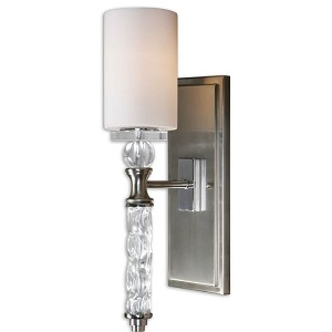 "Campania Collection 1-Light 19"" Brushed Nickel Wall Sconce with Carved Glass 22486"
