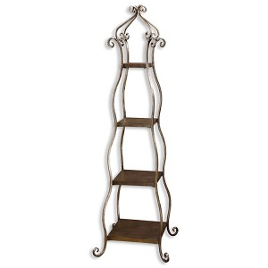 Lilah Collection Silver Leaf Etagere 26118