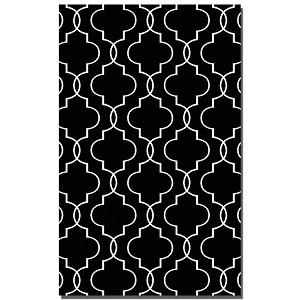 Devonshire Collection 5' x 8' Black Wool Rug 71024-5