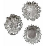 Set of Three Silver Flowers Wall Art 08503