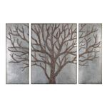 Winter View Collection Rustic Tree Art (Set of 3) 13793