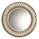 "Uttermost Entwined 45"" Wide Antique Silver and Gold Leaf Circular Wall Mirror 14028B"