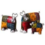 Set of Three Colorful Cow Figurines 19058