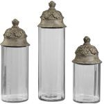 Acorn Collection Glass Cylinder Canisters, (Set of 3) 19714