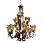 "Vetraio Collection 9-Light 38"" Oil Rubbed Bronze Chandelier with Toffee Art Glass Shade 21005"