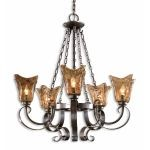 "Vetraio Collection 5-Light 32"" Oil Rubbed Bronze Chandelier with Toffee Art Glass Shade 21007"