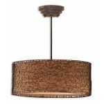 "Brandon Collection 3-Light 22"" Rustico Pendant with Silken Bronze Liner 21153"